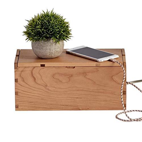 JCNFA Houten kabel-managementbox, met eenvoudige toegang tot telefoonlaadkabels, metalen scharnier inklapbaar ontwerp, verblindt power strips, overspanningsbeveiliging en USB-kabel, 2 kleuren 12.20*5.51*5.90in Red Cherry Wood