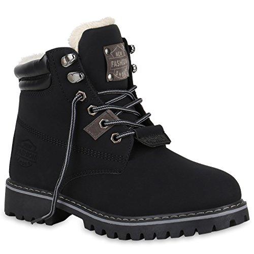 Damen Worker Boots Outdoor Stiefeletten Leicht Gefütterte Schuhe 150872 Schwarz Cabanas 37 Flandell