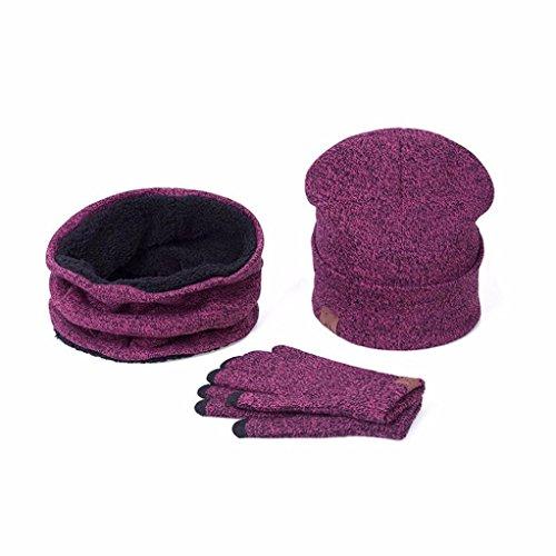 smdoxi 3Winter Weiches Kabel Knit Beanie Skull Hat Lange Schal Handschuhe Set für Damen Herren 60cm hot pink