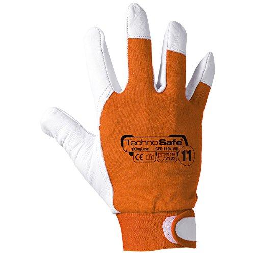 Technosafe gfo1101wh11 Gants en cuir fleur ovine et coton avec manchette réglable, Orange/Blanc, 11, Set de 2 pièces