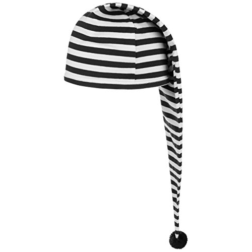 Lipodo Schlafmütze schwarz weiß gestreift (56 cm lang) - Damen und Herren - Nachthaube aus Baumwolle - Bommelmütze One Size (53-60 cm) - Nachtmütze mit Bommel - Zipfelmütze zum Schlafen für die Nacht