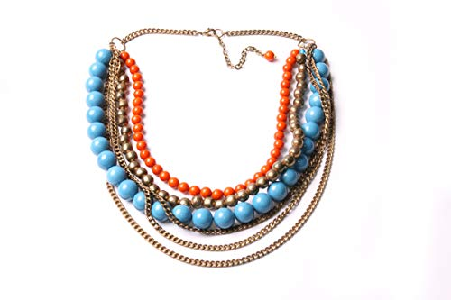 Large Multi-Row Necklace Old Gold Colour Chains, Ginger&Blue Beads Great Retro Ancient-Inspired Outstanding Fashion Accessory For Stylish Women (T631)