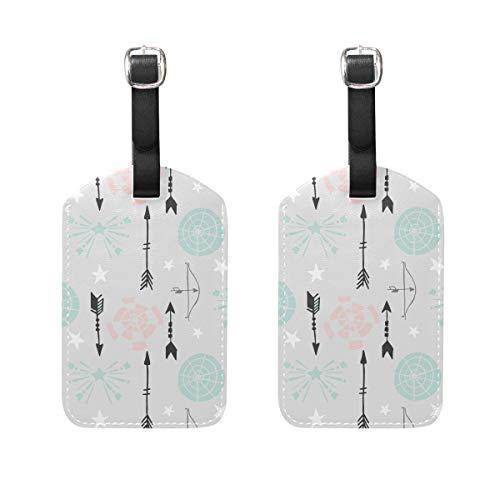 Muooum Gepäckanhänger mit Pfeil- und Zielscheiben, Reiseetiketten, Koffer, Taschen, Anhänger mit Namen, Adresskarten, 2er-Set
