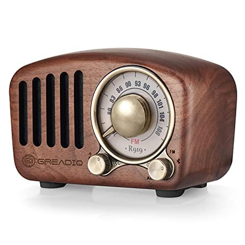 Greadio Vintage Radio Retro Bluetooth Lautsprecher Walnuss Holz FM Radio mit altmodischem Stil, starker Bass, laute Lautstärke, Bluetooth 4.2, TF-Karte und AUX