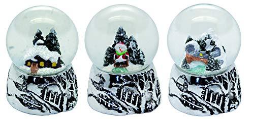 20095 3er Set süße Mini-Schneekugeln Winter und Weihnacht mit Silber Sockel, Durchmesser 45mm …