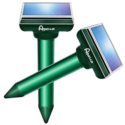 Apello Mole Repellent Solar Gopher Repellent Ultrasonic Vole Deterrent Chipmunk Repellent Outdoor No Gopher Trap Killer Harm to Your Yard - 2 Pack