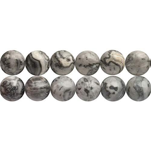 8mm Gray Picasso Jaspis Perlen Schwarz Weiss Edelstein zum Auffaedeln 38cm Strang Approx 46 Stück