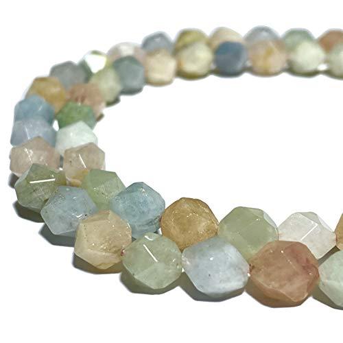 [ABCgems] Brazilian Aqua Morganite (Gorgeous Translucent Color- Mohs Hardness 7.5) 8mm Precision-Star-Cut Natural Semi-Precious Gemstone Healing Energy Beads