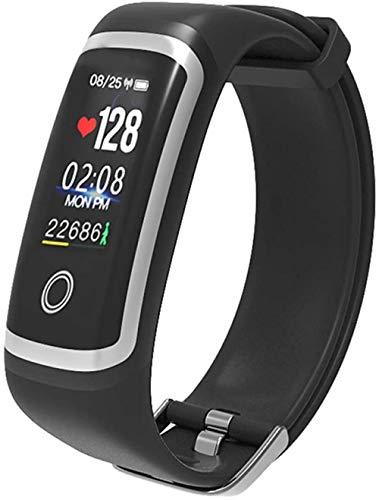 Monitor deportivo de fitness con pantalla a color, monitor de ritmo cardíaco, distancia de pasos, calorías, 20 m, impermeable, mensaje push Smart Watch Android e iOS azul-negro