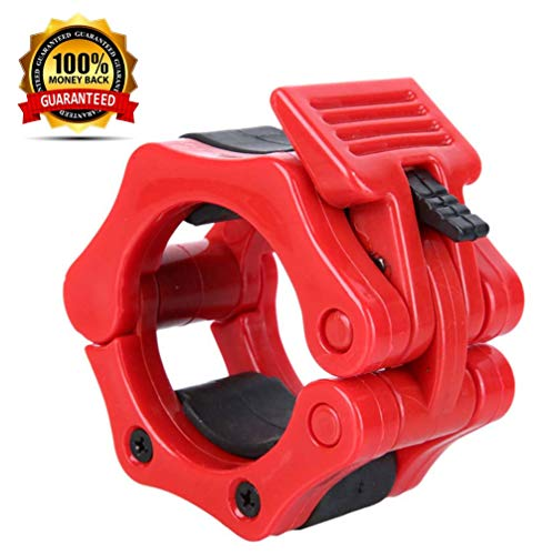 FUYUAN Olympic Barbell Clamps Collars Clips, 2 inches Quick Release Weight Bar, Weightlifting Fitness Training Barbell Locks Collar Clips 1 Pair Red