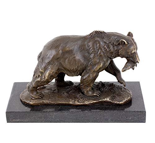 Kunst & Ambiente - Ours grizzly avec saumon – Sculpture animale – Ours brun en bronze de Milo – Signé – Figurine en bronze massif sur socle en marbre.