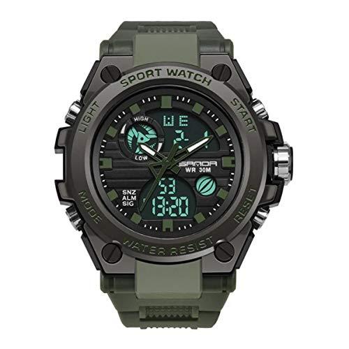 Sanda Army Green Relógio Masculino Sanda Militar Esportivo Original - Pretoe Puls Verde - Modelo 739