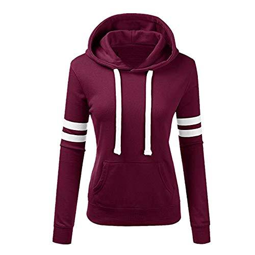 Dorical Damen Herbst Winter Mit Kapuze Zur Seite Fahren Sweatshirt Streifen Lose Lange Ärmel Mode Oberteile T-Shirt mit Tasche Spielraum