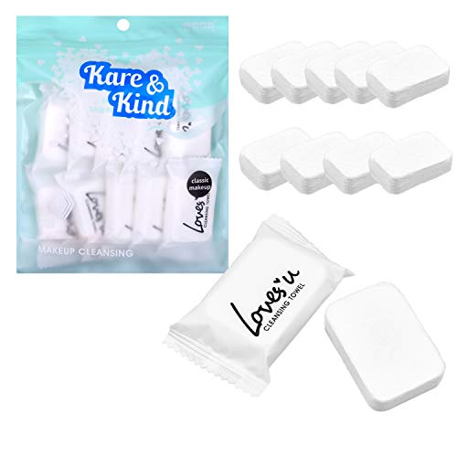Kare & Kind 10x Compressed Towels - Soft Cotton Washcloths for Travel, Sports, Camping, Home, Salon, Hotels - Chemical-Free Unscented Towels are Biodegradable - Use for Face and Body