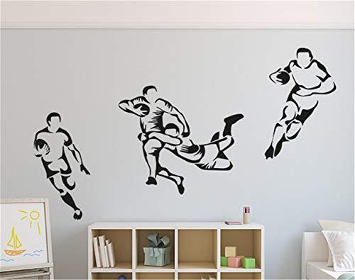 stickers muraux chambre ado garçon Joueurs de rugby pour salle de sport pour garçons