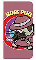 [AQUOS sense5G SHG03] スマホケース 手帳型 ケース デザイン手帳 アクオス センスファイブジー エスエイチジーゼロサン 8320-E. BossPug02ピンク かわいい 可愛い 人気 柄 ケータイケース ヌヌコ 谷口亮