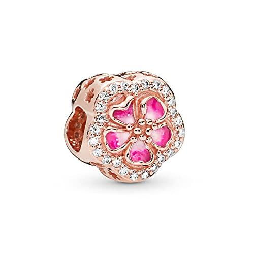 LIIHVYI Pandora Charms para Mujeres Cuentas Plata De Ley 925 Rosa Flor Floral Naturaleza Compatible con Pulseras Europeos Collars