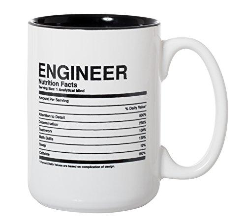 Ingenieur Nutrition Facts Zutatenetikett Tasse – Ingenieur Geschenk Tasse – 425 ml Deluxe doppelseitige Tasse für Kaffee und Tee