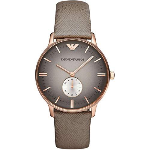 Unieke Stuff Shop Nieuwe Emporio Armani AR1723 Classic Grijs Lederen Heren Horloge met Doos