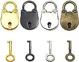 Hyamass 4pcs Mix Color Vintage Antique Style Mini Bear Head Archaize Padlocks Key Lock with Keys (Bear Head)