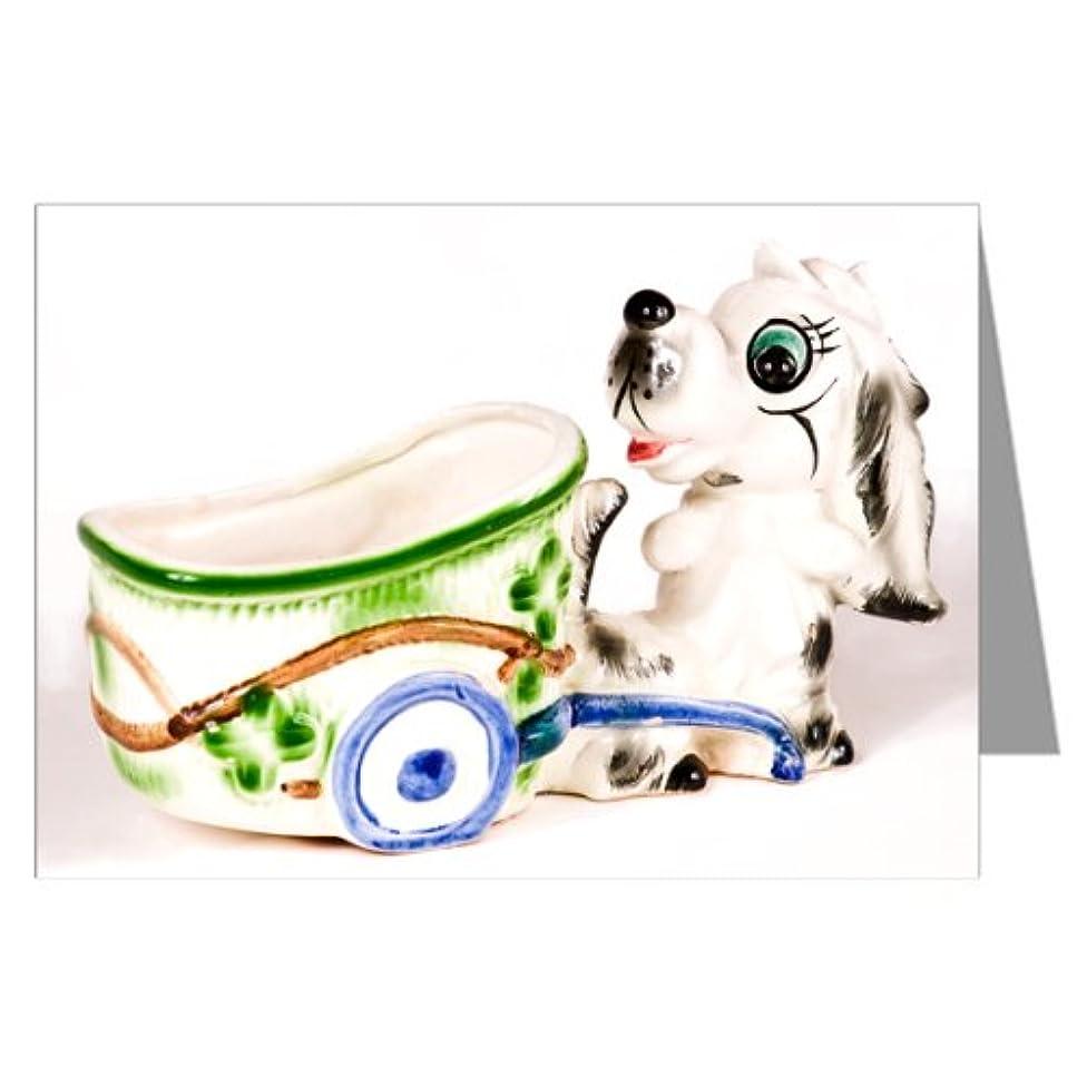 Vintage Kitsch Ceramic Collectible Dog Cart Notecard Set