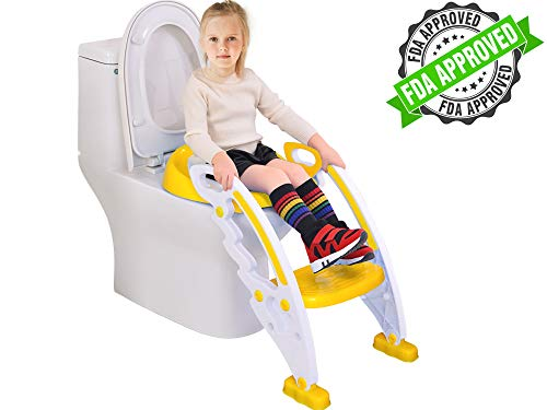 Potty Toilet Seat with Step Stool Ladder – Portable Chair Trainer with Handles. Sturdy, Comfortable, Safe, Built in Non-Slip Steps and Memory Foam Seat. Best Gifts for Kids, Boys, Girls, & Toddler