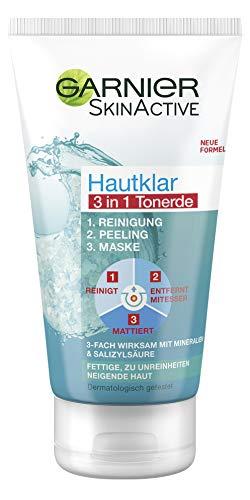 Garnier Hautklar 3in1 Reinigung + Peeling + Maske, 3-fach wirksam gegen unreine Haut, klärt tiefenwirksam mit Salizylsäure und Tonerde, 150 ml