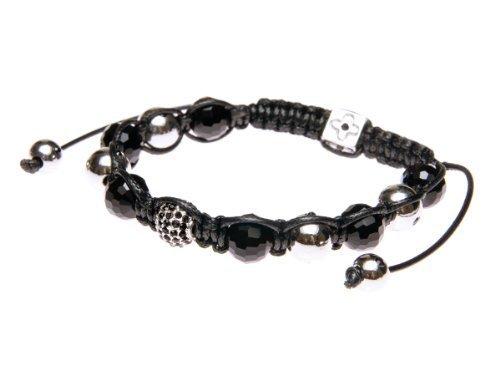 Andante-Stones Elegante SHAMBALA Bracciale dimensione regolabile 16-22 cm Nero argento Perle Strass + sacchetto di organza