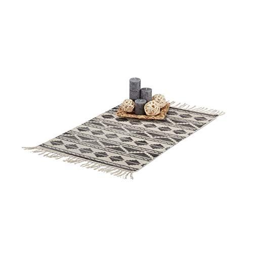 Relaxdays Alfombra con Estampado de Formas Geométricas, Algodón, Negro, 60 x 90 cm
