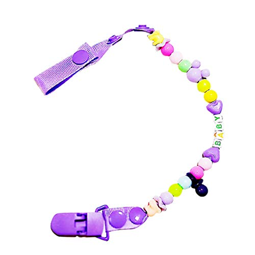 Best Deals! Toyvian 1pc Baby Pacifier Clip Beaded Pacifier Holder Teething Clip Pacifier Holder for ...