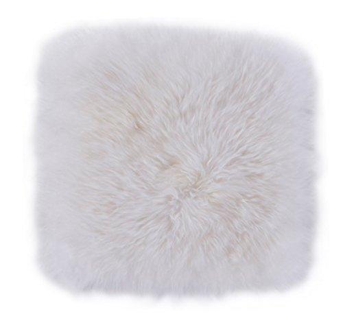 Luxor Living echtes Schaffellkissen ohne Füllung, weiche Sitzauflage, quadratische Fellauflage, Farbe:Weiß, Größe:40 x 40 cm
