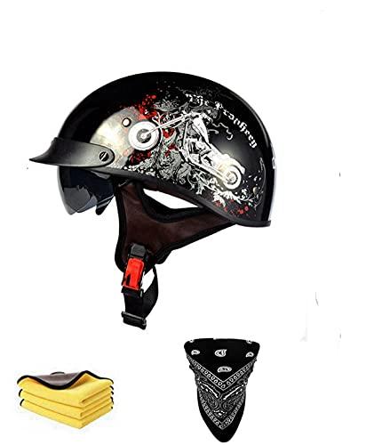 Casco de moto retro semiintegral para hombre y mujer, homologación ECE con visera, gafas de protección, para hombre y mujer, estilo vintage, talla B, XXL