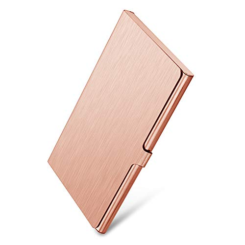 Sooez Business Card Holder, Metal Business Card Case Slim Stainless Steel Card Holders Name Card Box Credit Card Carrier, Rose Gold