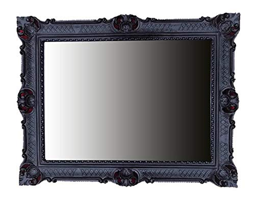 Lnxp Espejo de pared (90 x 70 cm), diseño barroco, color negro
