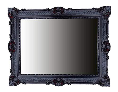 lnxp Espejo de pared Barroco Espejo Espejo en negro 90x 70cm Antiguo Barroco rococó Shabby Chic Renaissance juvenil estilo retro diseño con ornamentos verziehrungen prunk Completo de Lujo