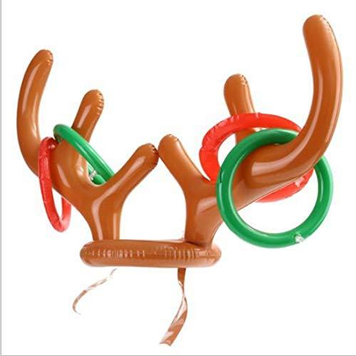 Eletam Anillo de Cabeza de Ciervo Inflable, Anillo de Lanzamiento, Juguete para niños, Deportes de Ocio al Aire Libre, Exquisita decoración navideña