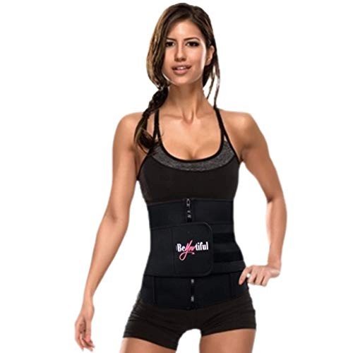 BeYOUtiful Adjustable Waist Trainer, Neoprene Blend Material, Increase Calorie Burn, Body Shaper, Lightweight Fit (Black, Small)