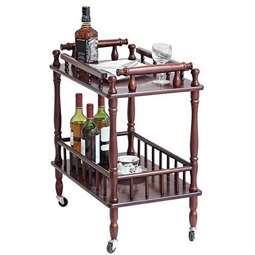 WLD Serving Trolley Cart Storage Shelf Swivel Castors 360° Rotation Bedroom Pantry Bathroom Multifunction, Brown,Brown,63x39x71cm
