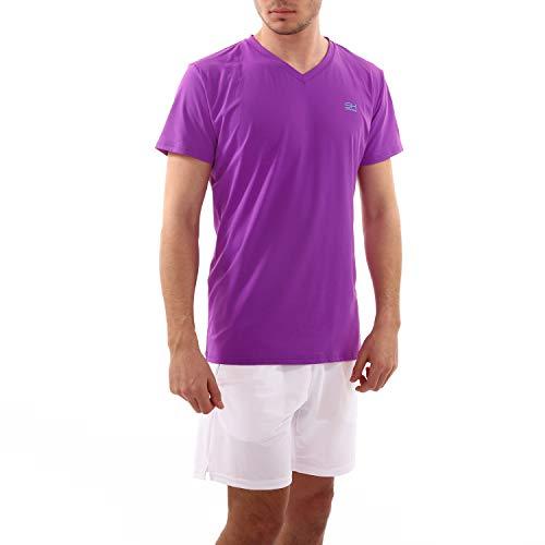 SPORTKIND - Camiseta de Tenis para Hombre y niño (Cuello en V), Todo el año, Color Morado, tamaño 164