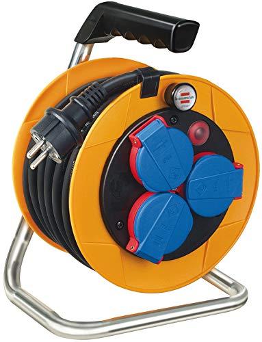Brennenstuhl Brobusta Kompakt IP44 Gewerbe-/Baustellen Kabeltrommel 10m (aus Spezialkunststoff, für den Baustelleneinsatz und den ständigen Einsatz im Außenbereich, Made in Germany)