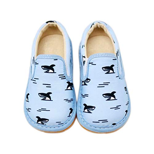 Squeaker Sneakers Spark The Shark Slip On, Squeaky Shoes for Toddlers with Removable Squeaker (6) Light Blue