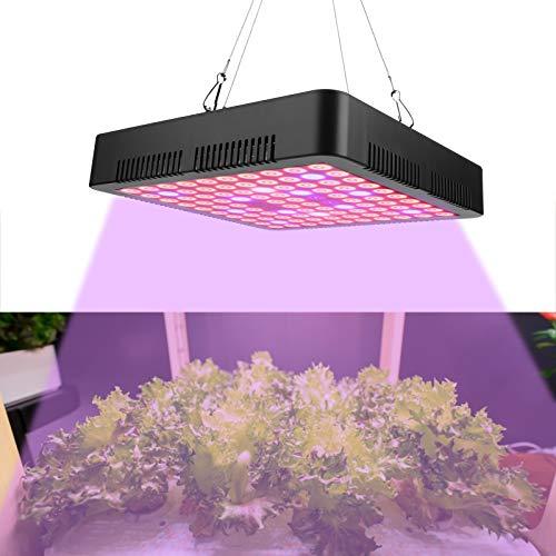 Lámpara de cultivo LED de 300 W, lámpara de cultivo de panel de espectro completo de 100 LED con máscara reflectora, lámpara LED para horticultura con enchufe y gancho para plantas(EU Plug)
