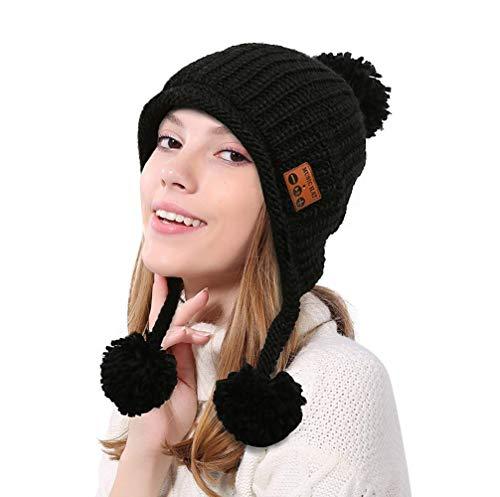 Preisvergleich Produktbild Drahtlose Musik Beanie Mütze mit Bluetooth Kopfhörer Headset Lautsprecher Mikrofon Hände frei Winter weiche warme Strickmütze waschbar Unisex Running Cap für Männer Frauen Mädchen, Schwarz
