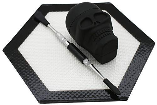 Kit de talla de cera de silicona con 15 ml de calavera negra de silicona contenedor y herramienta de talla