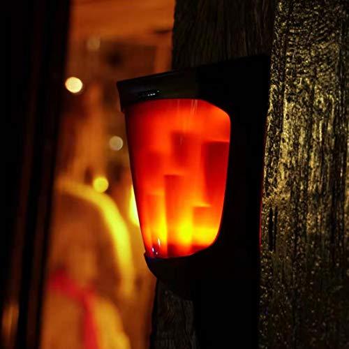 Veofoo Solar Kamin Laterne, Klassische Wanddekoration Solar Kamin Lampe Weiche Licht Flackern Realistisch Aussehende Flammen (1 Packung)