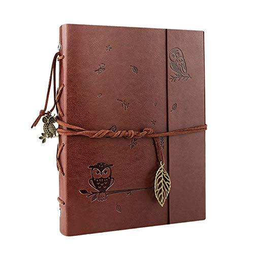 VEESUN Vintage Notizbuch Din A5, leer Tagebuch PU Leder Nachfüllbares Reisetagebuch, Ringbuch Retro Journal, Gebunden Tagebuch Geschenk ideen für Männer Frauen, Skizzenbuch, Eule, MEHRWEG