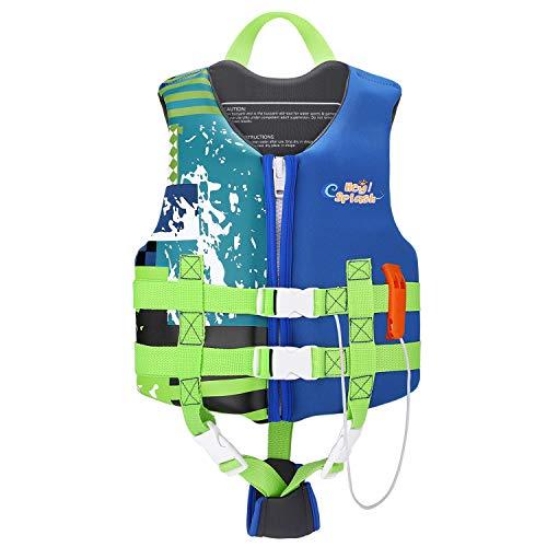 HeySplash Life Jacket for Kids, Child Size Watersports Swim Vest Flotation Device Trainer Vest with Survival Whistle, Easy on and Off, Indigo, Large Size (Suitable for 55-77 lb)
