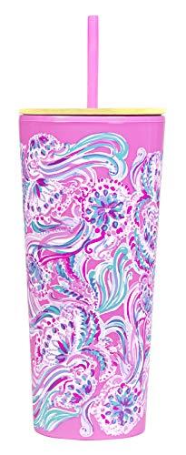 Lilly Pulitzer Doppelwandiger Isolierbecher mit wiederverwendbarem, flexiblem Strohhalm, Fassungsvermögen: 680 ml, Pink