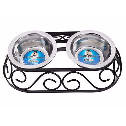 New Indipets Luxe Craft Oval Crown Double Dog Diner 16oz