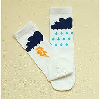 Lovely Socks 6 Pairs Children Cotton Socks Kids Spring and Autumn Thunderstorm Patterns Mid Tube Socks (Yellow) Newborn Sock (Color : White)